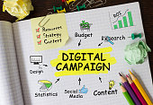 Notebook with Tools and Notes About Digital Campaign