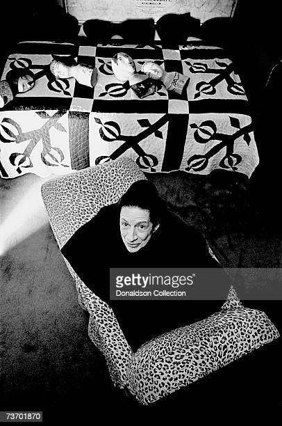 Noted columnist and editor in the field of fashion Diana Vreeland poses for a photoshoot in 1976 at her residence in New York