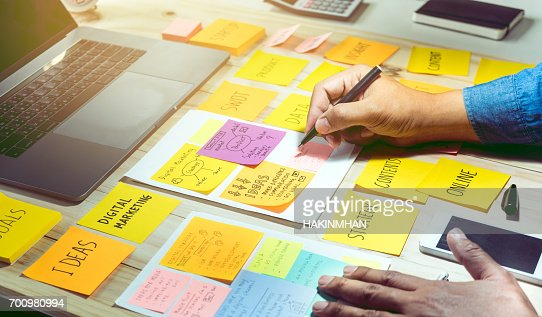 Notepaper with male hand.Business brainstorming and communication marketing plan concept : Foto de stock