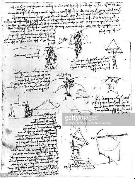 Notes and sketches of parachute experiments on flying machine wings by Leonardo da Vinci Leonardo da Vinci was an Italian painter sculptor architect...