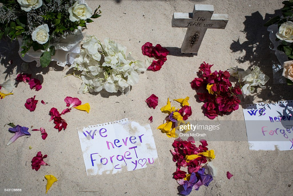 Notes are seen placed in the sand at a memorial for the victims of the 2015 Sousse Beach terrorist attack on the beach in front of the Imperial Marhaba hotel on June 26, 2016 in Sousse, Tunisia. Today marks the one year anniversary of the Sousse Beach terrorist attack, which killed 38 people including 30 Britons. Before the 2011 revolution, tourism in Tunisia accounted for approximately 7% of the country's GDP. The two 2015 terrorist attacks at the Bardo Museum and Sousse Beach saw tourism numbers plummet even further forcing hotels to close and many tourism and hospitality workers to lose their jobs.