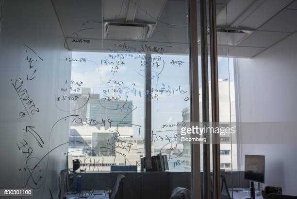 Notes are written on a door at an Alexandria LaunchLabs office in the Alexandria Center For Life Science in New York US on Thursday Aug 3 2017...