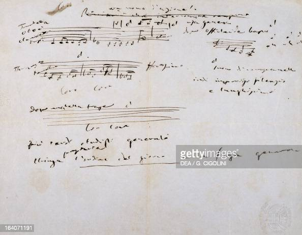 Notes taken by Giuseppe Verdi during a session of the Chamber of Deputies Sant'Agata Di Villanova Sull'Arda Villa Verdi