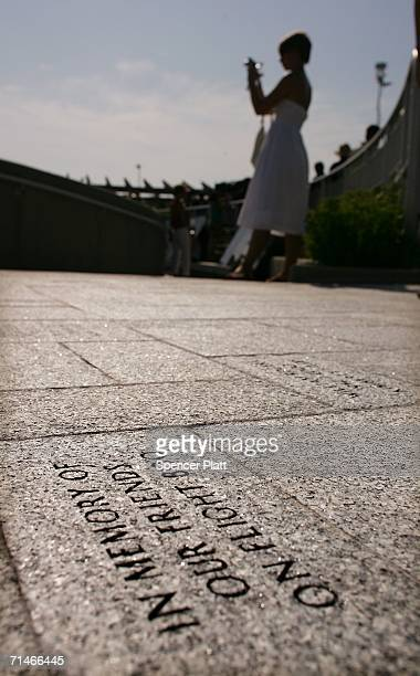 Notes to people lost on TWA flight 800 are engraved on the ground as part of a new memorial to those killed July 17 2006 at Smith Point Park in...