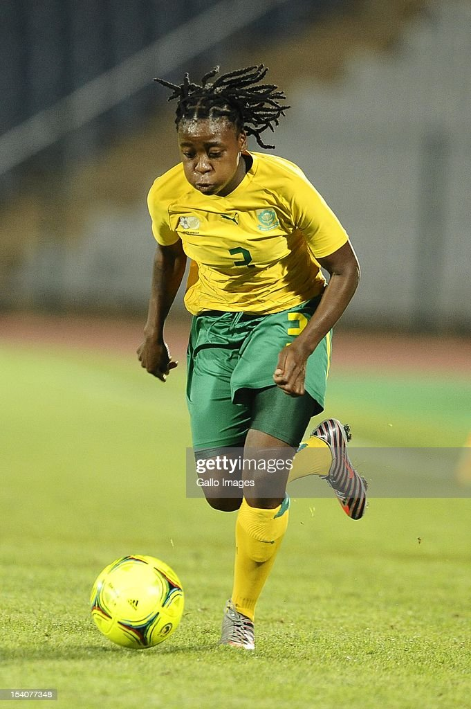 Nothando Vilakazi in action during the Womens International Friendly match between South Africa and Zimbabwe from Volkswagen Dobsonville Stadium on October 13, 2012 in Dobsonville, South Africa.