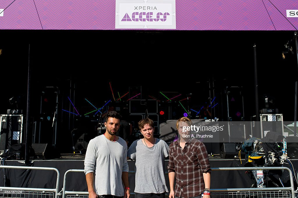 Nothing But Thieves pose for photographs on Sony's Xperia Access acoustic stage in the Virgin Media Louder Lounge. Unseen footage of Nothing But Thieves performance can be viewed at www.vevo.com/xperiaaccess at Hylands Park on August 17, 2014 in Chelmsford, England.
