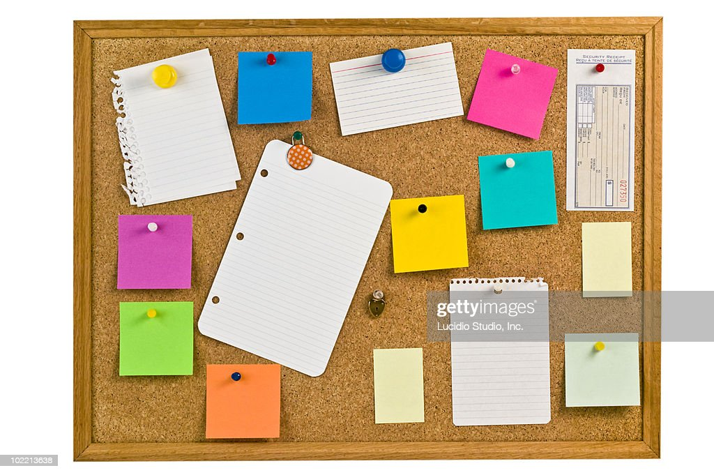 notice board with notes. : Stock Photo