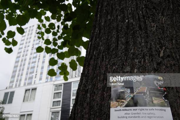 A notice for a public meeting is seen near to the Burnham Tower in the Chalcot estate on August 3 2017 in London England Despite ongoing concerns...