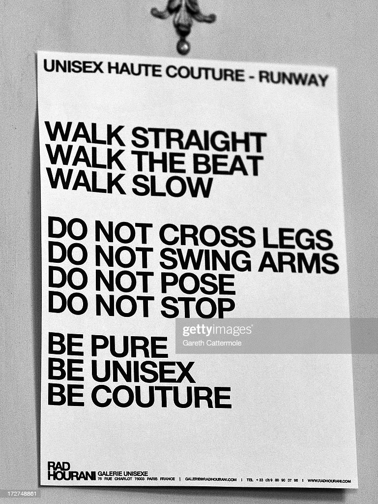 A notice for models backstage before the Rad Hourani show as part of Paris Fashion Week Haute-Couture Fall/Winter 2013-2014 on July 4, 2013 in Paris, France.