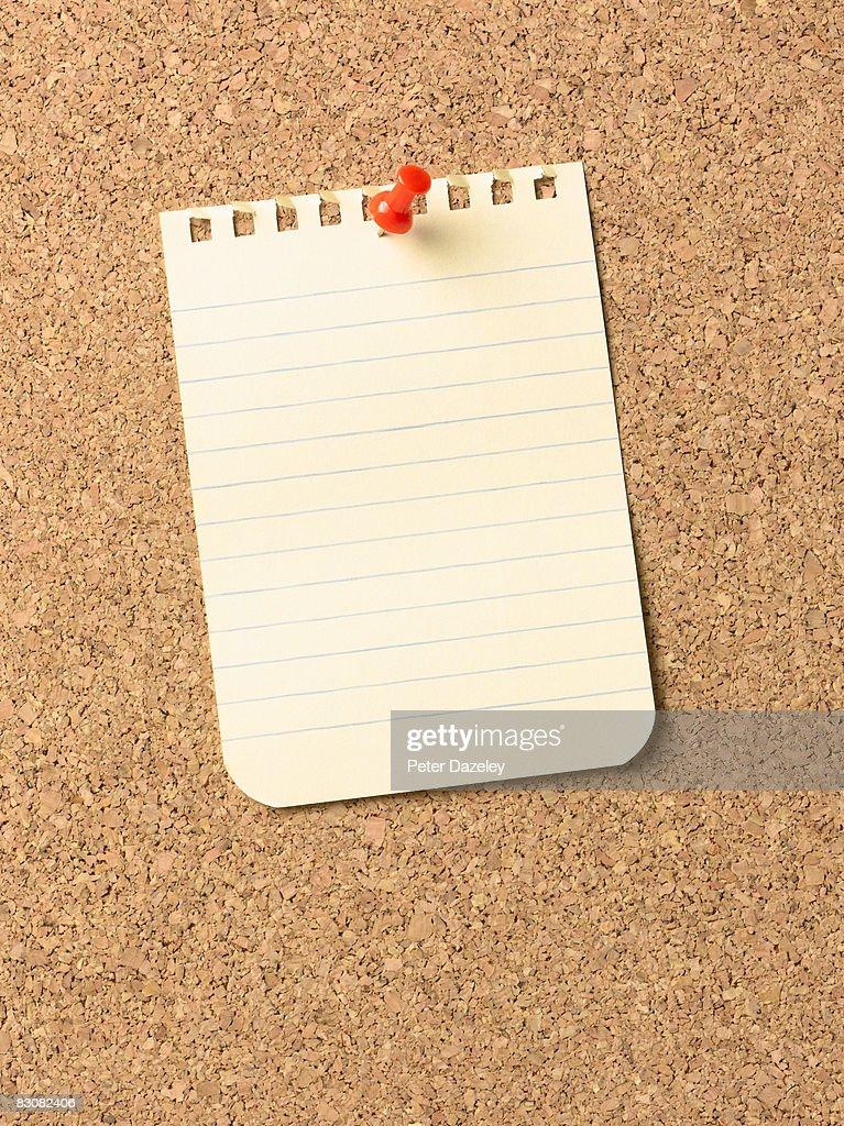 Notice on cork-board