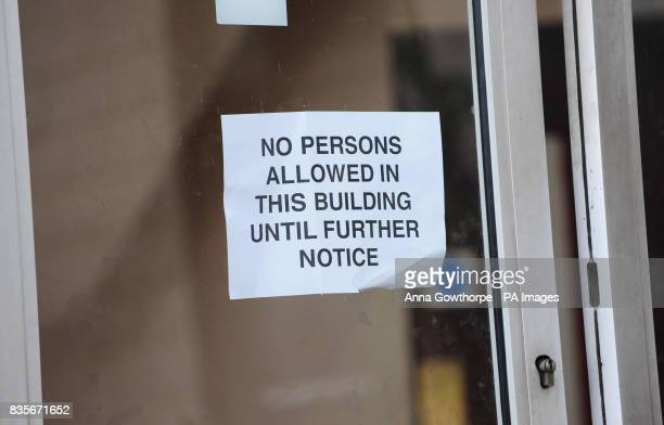 A notice on the door of the Institute of Islamic Education in Savile Town Dewsbury West Yorkshire where teacher Abdullah Patel is said to have worked...
