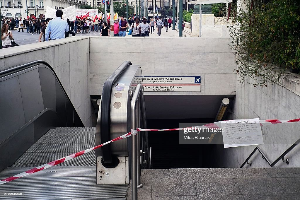 A notice that announces the closure of the central metro station Sintagma during a 48-hour nationwide general strike on May 6, 2016 in Athens, Greece. Unions called the strike to protest against pension reforms that are part of Greece's third international bailout.