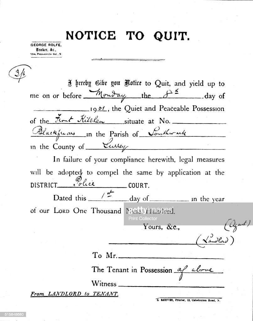 Superior Notice To Quit 1900 1901 Pictures Getty Images . Quit Letter  Notice To Quit Letter