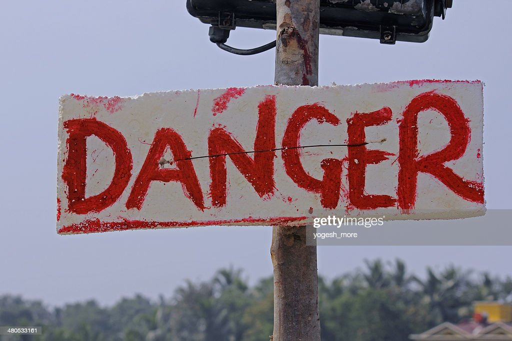 noticeboard indicating Danger : Stock Photo