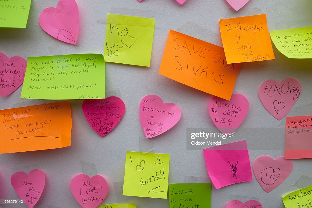 A noticeboard with positive messages at a community tea party held in Clarence Road in Hackney exactly a week after the violent disturbances...