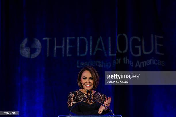 Notifier Univision and Aqui y Ahora coanchor Maria Elena Salinas speaks during the Leadership for the Americas Awards Gala hosted by the...