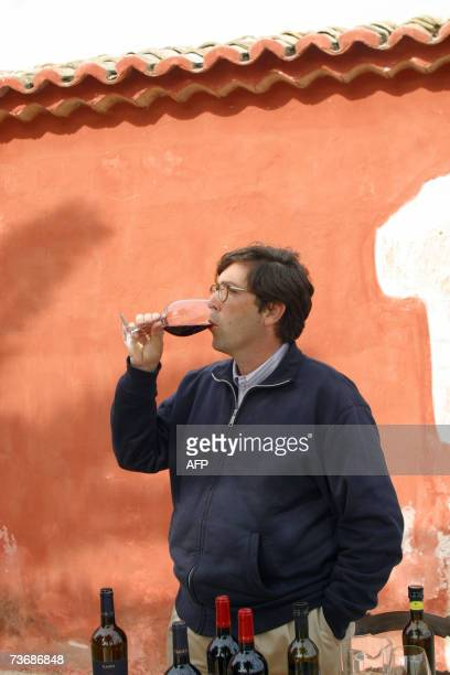 AFP STORY by JOE RAY This HAND OUT PICTURE from Gulfi wines shows Alessio Planeta drinking from a glass 07 march 2007 at Planeta winery near the...