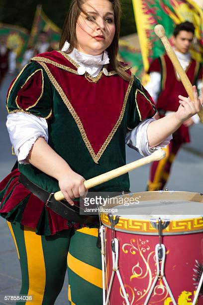 Noto, Sicily: Female Drummer in Traditional Procession/Parade