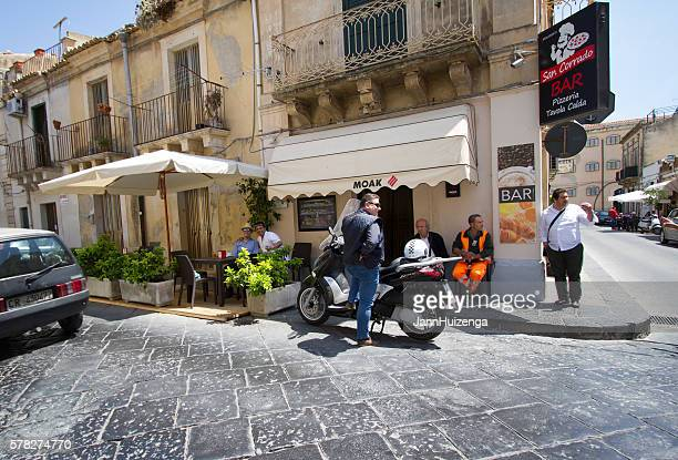 Noto, Sicily: Men Hanging Out at Coffee Bar on Corner