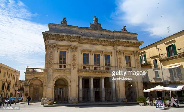 Noto, Sicily: Piazza with Pretty Civic Theater and Cafe Umbrellas