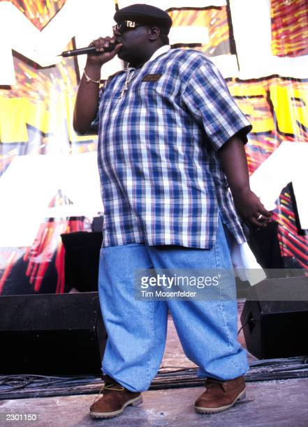 Notorious BIG aka Biggie Small performing at KMEL Summer Jam 1995 at Shoreline Amphitheater in Mountain View CA on August 11th 1995 Image By Tim...