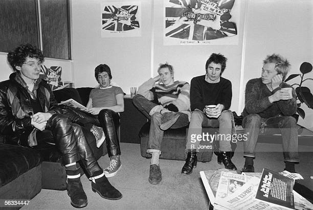 Notorious British punk rock band The Sex Pistols at the EMI studios 2nd December 1976 From left to right manager Malcolm McLaren Steve Jones Johnny...