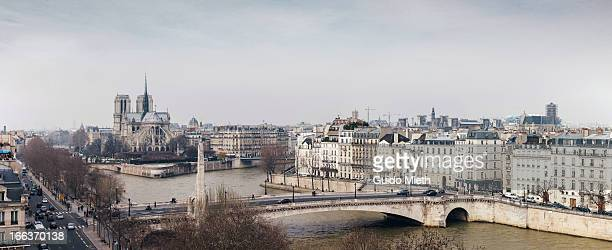 Notre Dame and Seine river, panorama view.