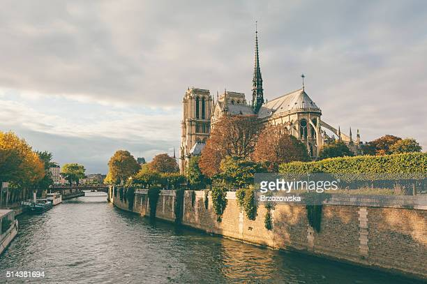 Notre Dame cathedral and Seine river in Paris (Paris, France)
