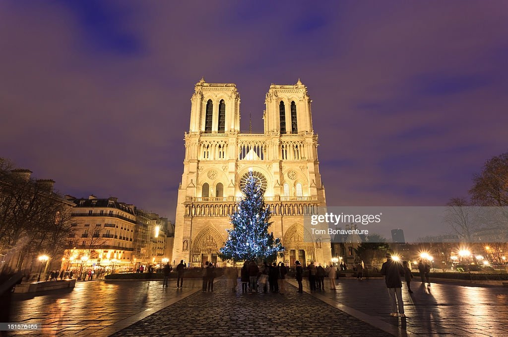 Notre Dame cathedral at christmas time : Stock Photo