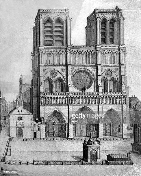 Notre Dame cathedral square in Paris drawing by Antier in 1699