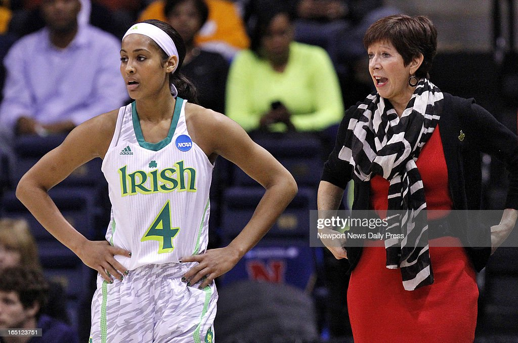 Notre Dame coach Muffet McGraw, right talks with Skylar Diggins during a timeout during Sunday's NCAA women's basketball regional semifinal on March 31, 2013, at the Ted Constant Center in Norfolk, Virginia.