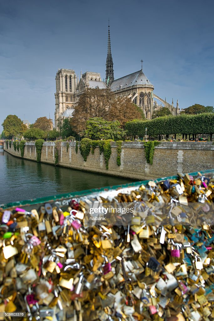 Notre dame de Paris and padlocks bridge : Foto de stock