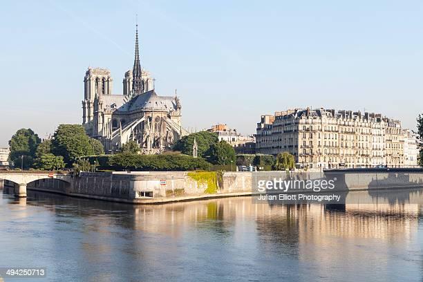 Notre Dame de Paris cathedral and the river Seine.