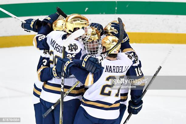 Notre Dame Fighting Irish center Andrew Oglevie celebrates with teammates after he scored a goal during the game between the Notre Dame Fighting...