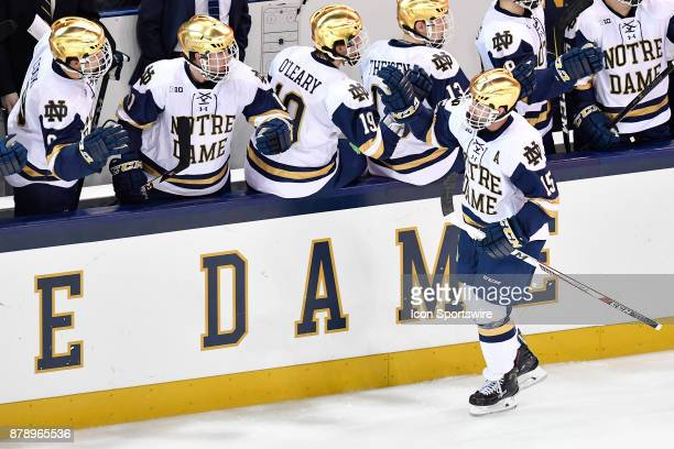 Notre Dame Fighting Irish center Andrew Oglevie high fives his teammates after scoring a goal during the game between the Notre Dame Fighting Irish...