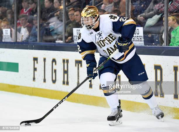 Notre Dame Fighting Irish defenseman Andrew Peeke skates with the puck during the game between the Notre Dame Fighting Irish and the Minnesota Golden...