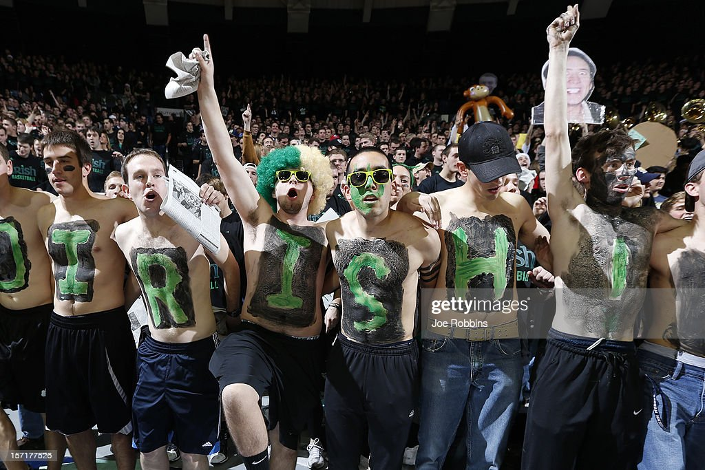 Notre Dame Fighting Irish fans cheer against the Kentucky Wildcats during the game at Purcell Pavilion at the Joyce Center on November 29, 2012 in South Bend, Indiana. Notre Dame won 64-50.