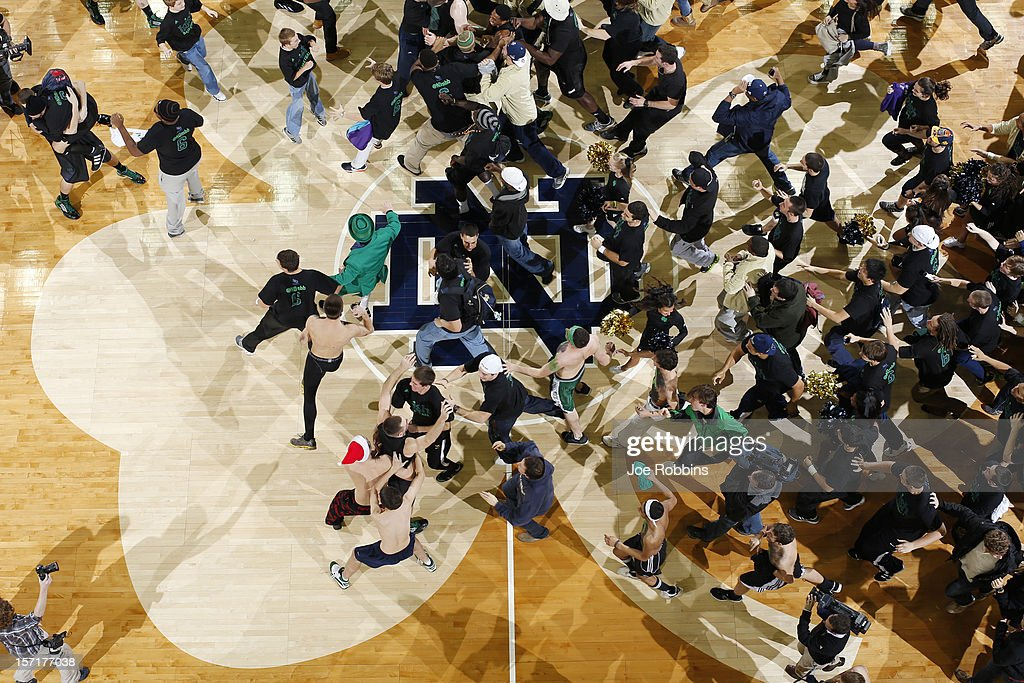 Notre Dame Fighting Irish fans storm the floor at the end of the game against the Kentucky Wildcats at Purcell Pavilion at the Joyce Center on November 29, 2012 in South Bend, Indiana. Notre Dame won 64-50.