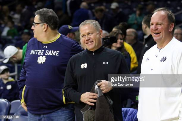 Notre Dame Fighting Irish football coach Brain Kelly before basketball game between the Notre Dame fighting Irish and the Wake Forest Demon Deacons...