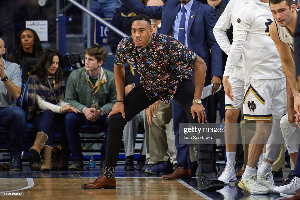 Notre Dame Fighting Irish forward Bonzie Colson (35) cheers from the bench during the college basketball game between the North Carolina Tar Heels and the Notre Dame Fighting Irish on January 13, 2018, at the Purcell Pavilion in South Bend, IN. The North Carolina Tar Heels defeated the Notre Dame Fighting Irish by the score of 69 to 68.