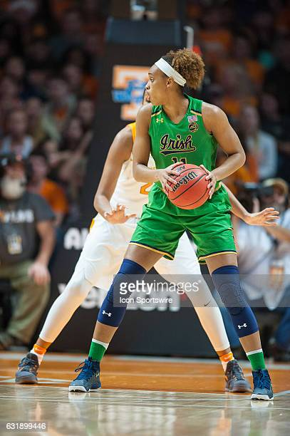 Notre Dame Fighting Irish forward Brianna Turner works against Tennessee Lady Volunteers center Mercedes Russell during a game between the Notre Dame...