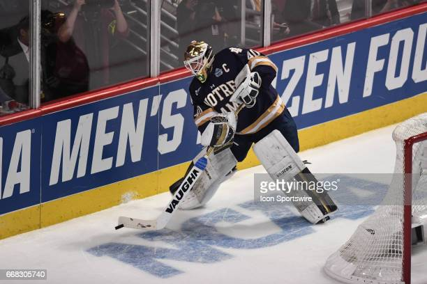 Notre Dame Fighting Irish goalie Cal Petersen in the first period of an NCAA Frozen Four semifinal game with the Denver Pioneers and the Notre Dame...