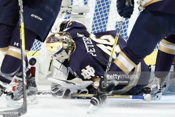 Notre Dame Fighting Irish goalie Cal Petersen watches a shot from Denver Pioneers forward Dylan Gambrell go into the back of the net for a goal...