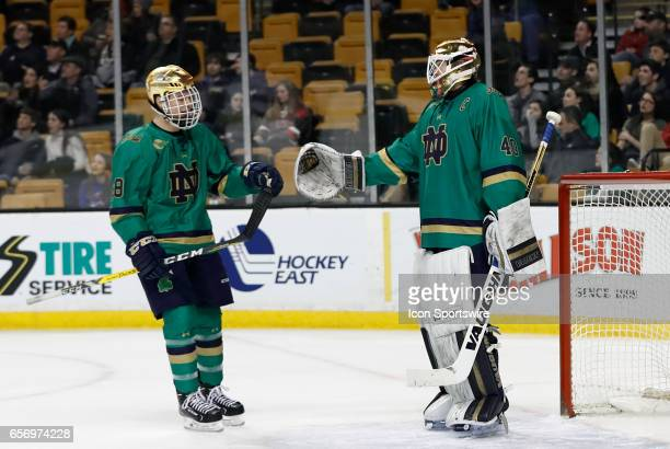 Notre Dame Fighting Irish goaltender Cal Petersen congratulates Notre Dame Fighting Irish right wing Jack Jenkins on his goal during a Hockey East...