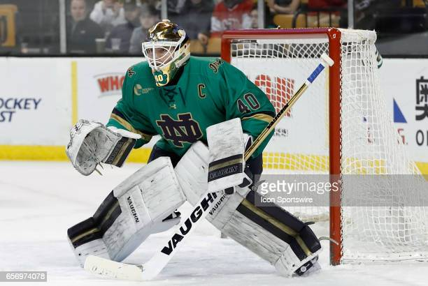 Notre Dame Fighting Irish goaltender Cal Petersen prepares for a shot during a Hockey East semifinal between the UMass Lowell River Hawks and the...