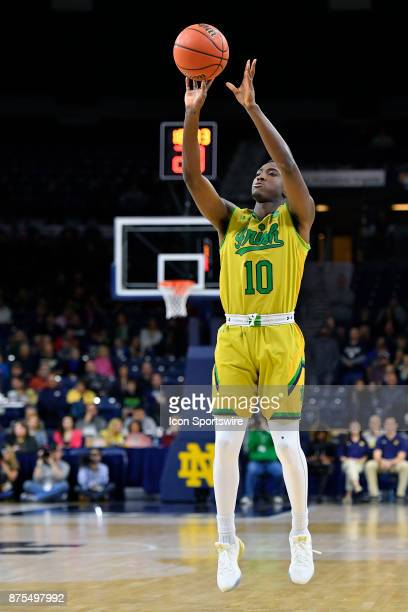 Notre Dame Fighting Irish guard Temple Gibbs shoots the ball during the game between the Chicago State Cougars and the Notre Dame Fighting Irish on...