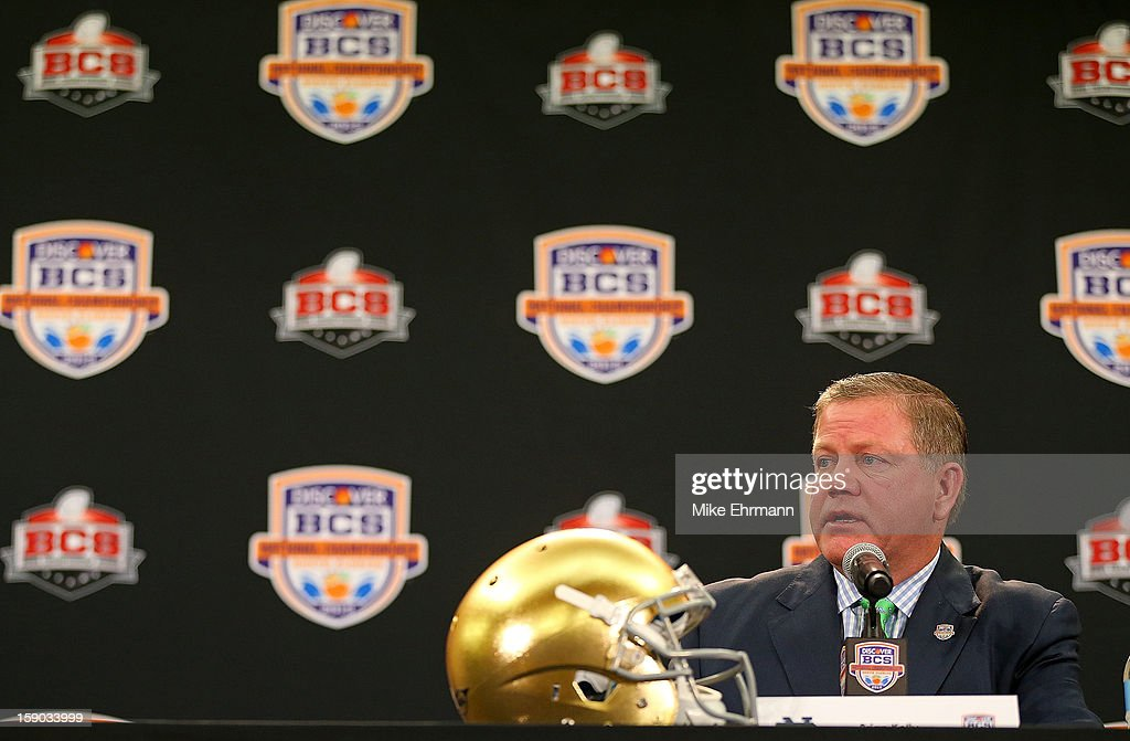 Notre Dame Fighting Irish head coach Brian Kelly spreaks with members of the media during the Discover BCS National Championship Head Coaches Press Conference on January 6, 2013 in Fort Lauderdale, Florida.