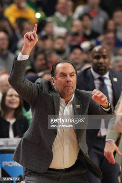 Notre Dame Fighting Irish head coach Mike Brey reacts during the NCAA Division I Men's Basketball Championship first round game between Princeton...