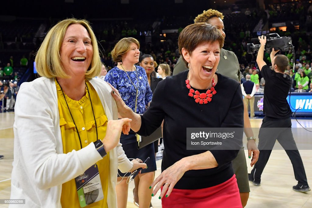 Notre Dame Fighting Irish head coach Muffet McGraw celebrates after defeating the Villanova Wildcatsduring the second round of the Division I Women's Championship on March 18, 2018 in South Bend, Indiana.