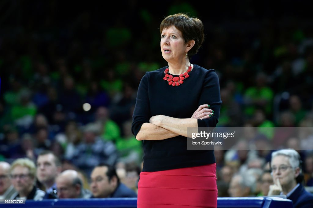 Notre Dame Fighting Irish head coach Muffet McGraw looks on during the second round of the Division I Women's Championship against the Villanova Wildcats on March 18, 2018 in South Bend, Indiana.